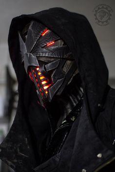 Erebus - Cyberpunk dystopian light up helmet by TwoHornsUnit.-Erebus – Cyberpunk dystopian light up helmet by TwoHornsUnited on DeviantArt Erebus – Cyberpunk dystopian light up helmet by TwoHornsUnited on DeviantArt - Fantasy Armor, Sci Fi Fantasy, Dark Fantasy, Arte Ninja, Arte Robot, Mode Cyberpunk, Cyberpunk Tattoo, Cyberpunk 2077, Cyberpunk Fashion