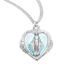 Vintage Enamel Heart Miraculous Medal    Catholic Jewelry This lovely sterling silver medal features a vintage, distressed style image of the Blessed Mother Mary and a blue background inside the heart. The traditional wording is around the edge, with the symbolism of the two hearts, stars, cross and M on the reverse. Measures 1 x 0.75, 20 inch stainless steel chain with clasp.Place into your cart or wish list above.