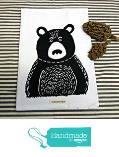Flour Sack Tea Towel with Bear Block Print from Ecarlate Boutique