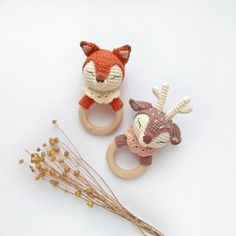 Best 12 Fox or deer rattles can be favorite baby first toy. You can include gift wrapping for additional costs if you want to send this as a gift to your friends.  We select the rings for our rattles very carefully. Alder rings are perfectly ground, do n Newborn Toys, Baby Toys, Crochet Pacifier Clip, Matilda, Baby Deer, Baby Rattle, Teething Toys, Crochet Toys, Machine Embroidery Designs
