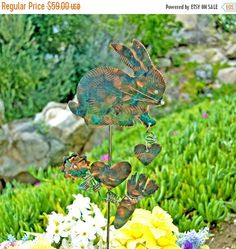 SALE Bunny Rabbit Garden Stake / Metal Garden Art / Copper Art / Yard Art / Farm Animal / Garden Sculpture / Barnyard / Statue / Sign