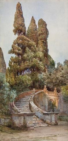 Ettore Roesler Franz (Italian, 1845-1907), the garden at the villa d'Este