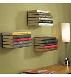 Concealed Book Shelf - I've seen these before love this idea!