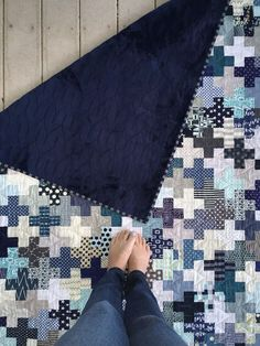 """Plus quilt by A Little Bit Biased: """"I went as small as I could bring myself to go and cut my squares 2"""" and my rectangles 2"""" x 5""""."""""""
