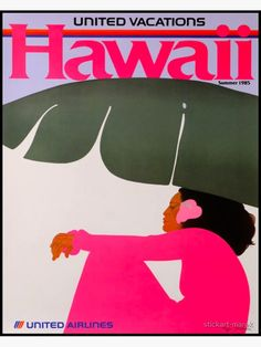 Vintage United Airlines Hawaii poster by the one and only Pegge Hopper. Retro Poster, Poster S, Vintage Travel Posters, Vintage Ads, Vintage Airline, Vintage Graphic, Hawaii Vintage, Vintage Hawaiian, Aloha Vintage