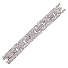 Art Deco Impressive Diamond Platinum Bracelet | From a unique collection of vintage retro bracelets at https://www.1stdibs.com/jewelry/bracelets/retro-bracelets/
