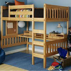 Gabriel Natural Full Loft with Media Cart. Gabriel Natural Full Loft with Media Cart . Build A Loft Bed, Loft Bed Plans, Desk Plans, Bunk Bed With Desk, Bunk Beds With Stairs, Desk Bed, Bed Stairs, Wood Bunk Beds, Kids Bunk Beds