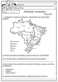 Modelo de Avaliação Geografia Estados e Capitais Rosa dos ventos Pontos Cardeais e Colaterais Portuguese Lessons, Autism Support, Maria Jose, Exercise For Kids, Primary School, Geography, Teaching, Activities, Education