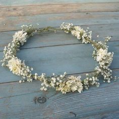Boho Purity Dried Flower Hair Crown by EnglishFlowerFarmer on Etsy
