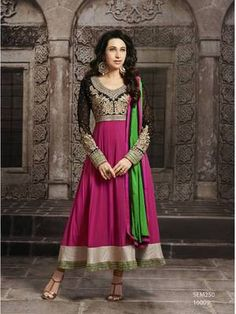 Karishma kapoor beautiful pink long sleeve anarkali suit