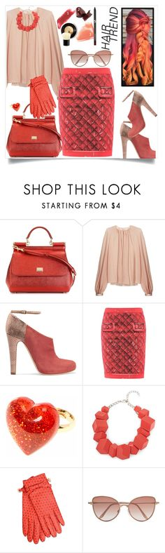 """""""Street style"""" by hani-bgd ❤ liked on Polyvore featuring beauty, Dolce&Gabbana, Roksanda, Malone Souliers, Moschino, Boutique Moschino, Cutler and Gross, hairtrend and rainbowhair"""