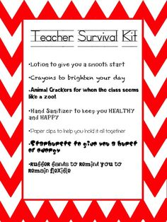 New Teacher Survival Kit Printable to make your own Survival Kit for a new colleague, a student teacher or just a good friend at school. UPDATE:  This is no longer a FREE item.  It has been made EDITABLE and is available in my TpT store.  https://www.teacherspayteachers.com/Product/Teacher-Survival-Kit-EDITABLE-2028363