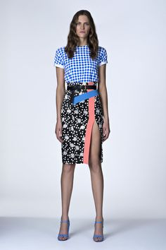 Emanuel Ungaro Resort 2014 - love the printed skirt with the solid bold color band