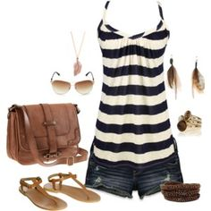 striped top / jean shorts