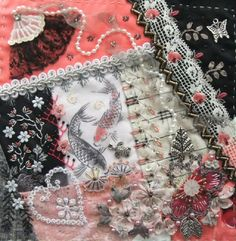 I ❤ crazy quilting, beading & ribbon embroidery . . . Kristie's Encrusted DYB block, July 2013 ~By Hideko Ishida