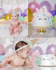 Half Birthday Unicorn Themed Smash Cake 6 months birthday | 1/2 birthday | unicorn themed | balloons | pom poms | clouds | tutu | hat | Memorable Moments Photography | RGV Photographer | photography | studio photography