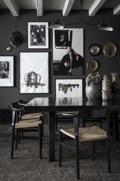 8 Chic Black Dining Rooms Interior Of Modern Dining Room With Wooden And Black Walls Concrete 30 Beautiful Black Rooms 28 Ideas For Black Wall Interiors How To Decoration Inspiration, Interior Design Inspiration, Room Inspiration, Design Ideas, Design Projects, Design Trends, Colour Trends, Decor Ideas, Diy Projects