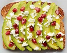 Avocado, feta cheese, pomegranate and olive oil.