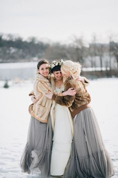 Celeste and Ryan's Winter Barn Wedding. Captured by Cameron & Mindy Of Braun Photography #winterwedding #bridesmaids