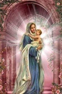 Blessed Mother Mary, Blessed Virgin Mary, Jesus Mother, Jesus Pictures, Pictures To Draw, Catholic Art, Religious Art, Hail Holy Queen, Jesus Our Savior