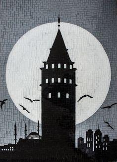 Galata Kulesi, Cam Mozaik by Altınok Mosaic Drawing, Mosaic Art, Mosaic Glass, Painting & Drawing, Glass Art, Drawing Drawing, Black Phone Wallpaper, Hd Wallpaper, Newspaper Art