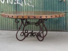 """Hammered copper top diam. 72"""" - 1,80 m Hand-forged wrought iron base                solid square stock  1"""" x 1"""""""