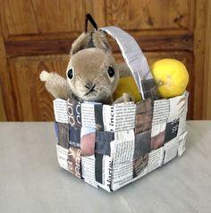 Basket bound by using a newspaper #kids, #craft, #crafts, #children, #diy