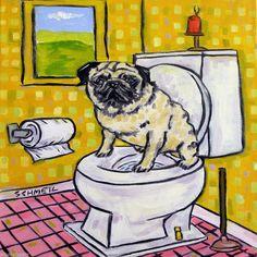 pug bathroom picture dog animal art tile coaster gift