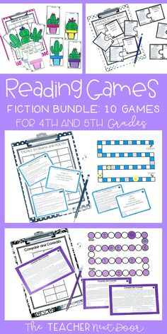 This set of Fiction Reading Games includes 10 interactive games which target key reading comprehension skills for 4th/5th grades. Games include Compare and Contrast, Inferences, Themes of Stories, Themes of Poetry and Drama, Character Traits, Story Summary, Reading Comprehension: Details and Examples, Context Clues, Point of View, and Elements of Poetry, Drama, and Prose. #readinggames4thgrade #readinggames5thgrade #readingcenters