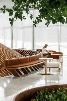2020 中国地产设计 TOP 20【环球设计2454期】 Bench Furniture, Outdoor Furniture Sets, Furniture Design, Outdoor Decor, Lobby Interior, Interior Architecture, Booth Seating, Co Working, Commercial Design