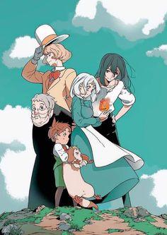 Studio Ghibli Poster, Studio Ghibli Art, Studio Ghibli Movies, Howl's Moving Castle Movie, Howls Moving Castle, Totoro, Howl And Sophie, Hayao Miyazaki, Anime Films