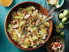 Brussels Sprout Slaw with Apples and Pecans Recipe | Do you love the crunch of coleslaw or the heartiness of a chopped kale salad? You'll love this crisp, fresh salad of shaved Brussels sprouts, Honeycrisp apples, Parmesan cheese, and toasted pecans. Chef and cookbook author Virginia Willis created this easy and delicious recipe after being inspired by the kale salad with lemon and Parmesan that has found a place on restaurant menus all over the South.