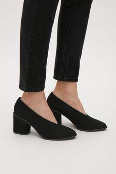 COS image 5 of Chunky heel suede pumps in Black