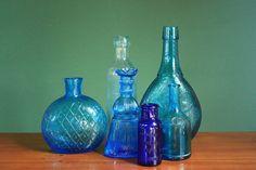 Antique Blue Bottles