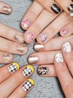 Nail-Art Masterpieces In Minutes: How To Use Nail Strips For Amazing DIY Creations  #refinery29  http://www.refinery29.com/how-to-do-nail-art-with-strips#slide-20  Alexandria Gurule, our Marketing Manager, created a really mind-boggling effect by painting black nail color with and against the patterns of these Tri-bal It On  strips, then adding a little gold before applying a top coat. The...