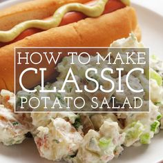 Going to a cookout? This classic potato salad is what you want! It's made with boiled potatoes sour cream mayo green onions celery parsley pickles and bacon. Serve room temperature or chilled. Southern Style Potato Salad, Classic Potato Salad, Easy Potato Salad, Potato Salad With Bacon, Sour Cream Potato Salad, Salad Recipes With Bacon, Bacon Recipes, Potato Recipes, Cooking Recipes
