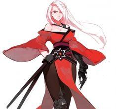 Star Samurai - beautiful, kimono, katana, pretty, beauty, white hair, anime, girl, red, black, long hair, lovely, samurai, star, anime girl, sword, sweet