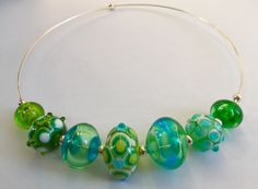 Glass Necklace, Lampwork Beads, Handmade, Hand Made, Handarbeit