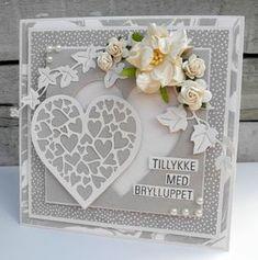 Jeg har lavet et bryllupskort med det søde papir, stempler og dies fra Threescoops.dk , jeg har brugt dette stempel Mild smag af lakrids...