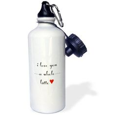 3dRose I love you a whole latte, Sports Water Bottle, 21oz