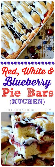 Red, White and Blueberry Pie Bars: similar to kuchen, these cake-like pie bars are swirled with cherry and blueberry pie filling and drizzled with a lemony glaze. So easy, feeds a crowd and makes a big batch, and perfect for summertime festivities like Memorial Day and Fourth of July!