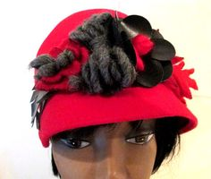 Wool Red Cloche.  Red Wool Winter Hat.  Red by MISSVINTAGE5000