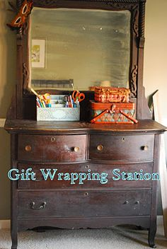 Gift wrapping station: I thought this was a truly unique & fun way to create a gift wrap station. Just goes to show what a little creativity will do for you :) via 'Between Blue & Yellow'