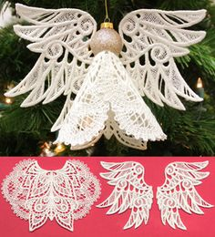 """Give your Christmas tree a pretty, unique look with this freestanding lace tree topper. Stitch using 50 weight or 30 weight cotton thread. Finished angel is about 5.5"""" high with a wingspan of about 7.5"""". Uses a 1"""" diameter bauble ornament for the head."""