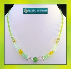 Green and Yellow Glass Beaded Statement by JewelryByScotti on Etsy