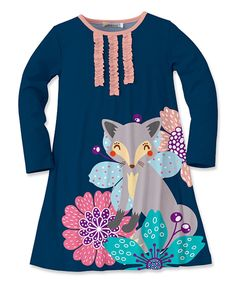 Take a look at this Navy Floral Fox Swing Dress - Toddler & Girls today!