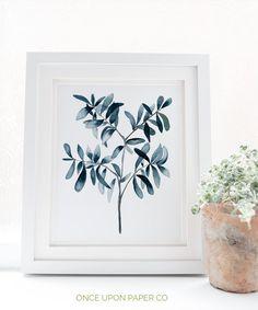 Blue watercolor print of olive tree Illustration print navy Navy Blue Wall Art, Blue Wall Decor, Tree Illustration, Watercolor Illustration, Watercolor Plants, Watercolor Art, Plant Art, Blue Painting, Leaf Art