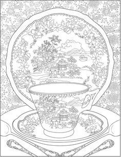 Creative Haven Tea Time Coloring Book from Dover Free Adult Coloring Pages, Free Printable Coloring Pages, Coloring Book Pages, Free Coloring, Coloring Sheets, Doodle Coloring, Colouring Pics, Mandala Coloring, Colorful Drawings