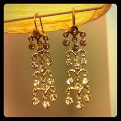 Monet Jewelry Gold Chandelier Earrings W Bronze Crystals 9