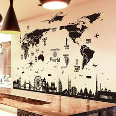 World Map Wall Stickers DIY Europe Style Buildings Wall Decals for Living Room Company School Office Decoration - # World Map Sticker, Wall Stickers World, World Map Wall Art, Wall Decor Stickers, Bedroom Wall Stickers, Vinyl Decals, Wall Stickers Travel, Office Wall Decals, Travel Wall Art